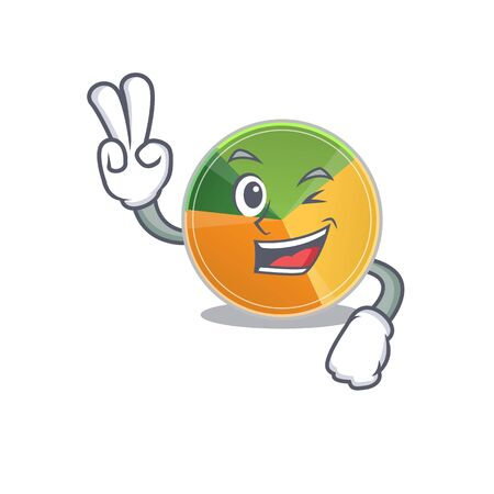 Smiley mascot of pie chart cartoon Character with two fingers. Vector illustration