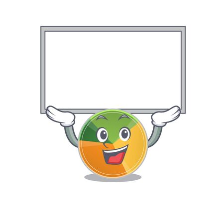 A mascot picture of pie chart raised up board. Vector illustration