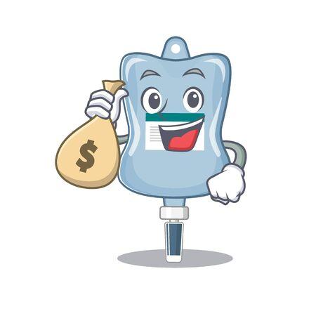 Feliz personaje de dibujos animados de bolsa de solución salina rica con bolsa de dinero. Ilustración vectorial Ilustración de vector