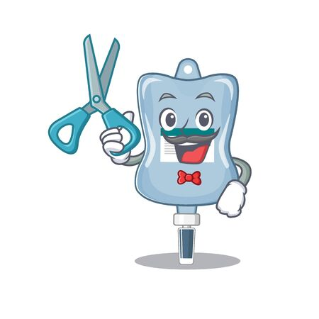 Smiley Funny Barber saline bag cartoon character design style. Vector illustration