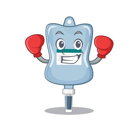 Sporty Boxing saline bag mascot character style. Vector illustration