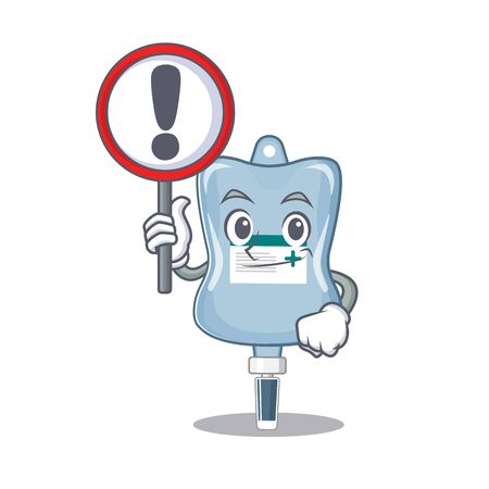cool and funny saline bag raised up a Sign. Vector illustration