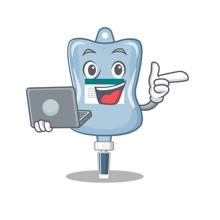 Smart character of saline bag working with laptop. Vector illustration