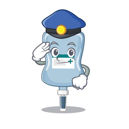 Saline bag Cartoon mascot performed as a Police officer. Vector illustration 向量圖像