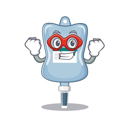 Smiley mascot of saline bag dressed as a Super hero. Vector illustration