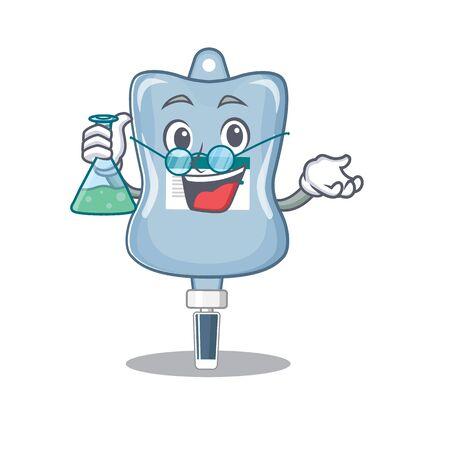 Smart Professor saline bag cartoon character with glass tube. Vector illustration