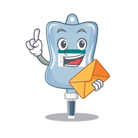 Cheerfully saline bag mascot design with envelope. Vector illustration