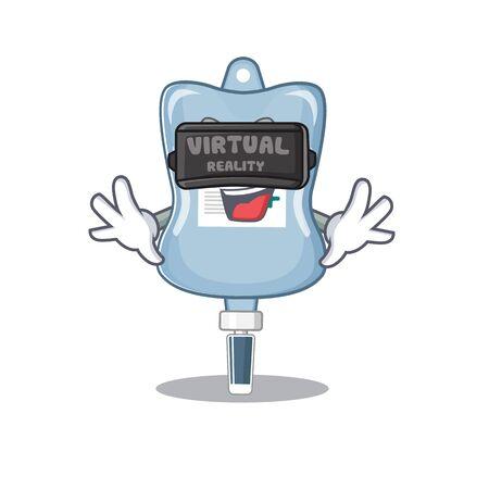 Trendy saline bag character wearing Virtual reality headset. Vector illustration