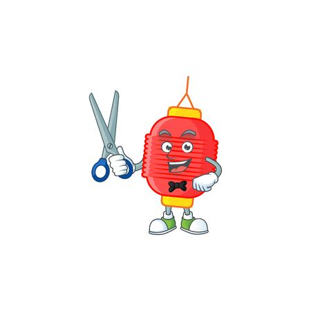 Cool friendly barber chinese lantern cartoon character style 向量圖像