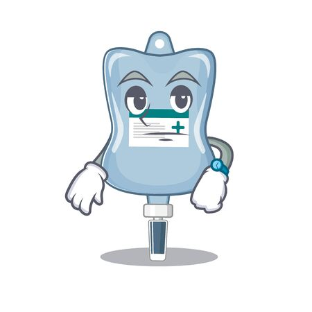 cartoon character design of saline bag on a waiting gesture. Vector illustration  イラスト・ベクター素材