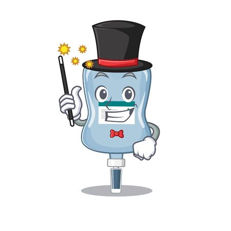 A picture of saline bag performance as a Magician. Vector illustration