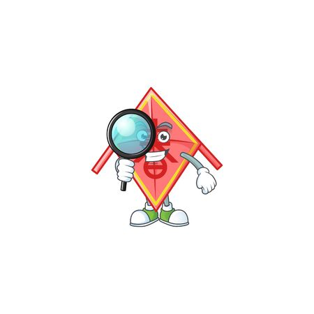 Smart One eye chinese red kite Detective character style. Vector illustration