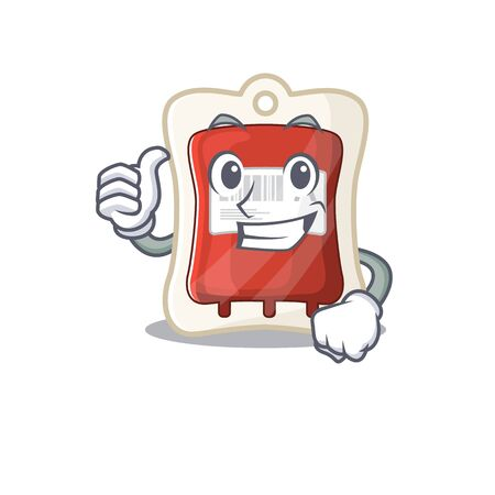 Cheerfully blood bag making Thumbs up gesture. Vector illustration