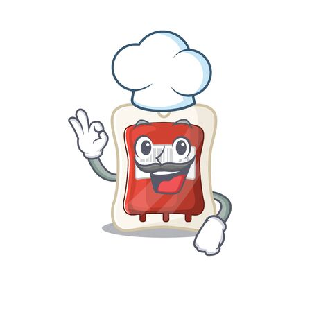 Blood bag cartoon character wearing costume of chef and white hat. Vector illustration Vectores