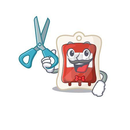 Smiley Funny Barber blood bag cartoon character design style 向量圖像