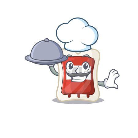 cartoon design of blood bag as a Chef having food on tray