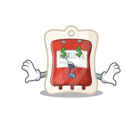 Happy rich blood bag with Money eye cartoon character style Illusztráció