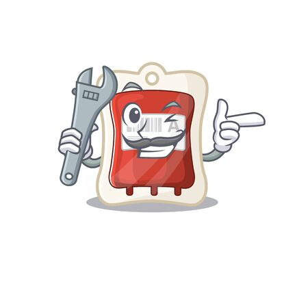 Smart Mechanic blood bag cartoon character design