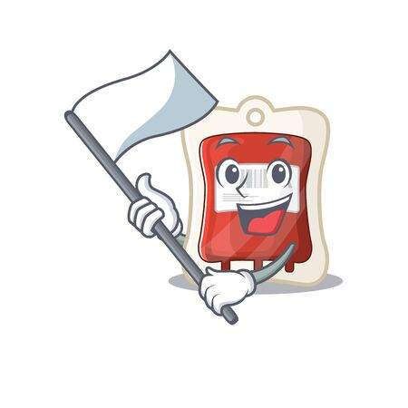 Funny blood bag cartoon character style holding a standing flag