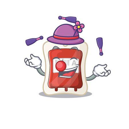 Smart blood bag cartoon character design playing Juggling