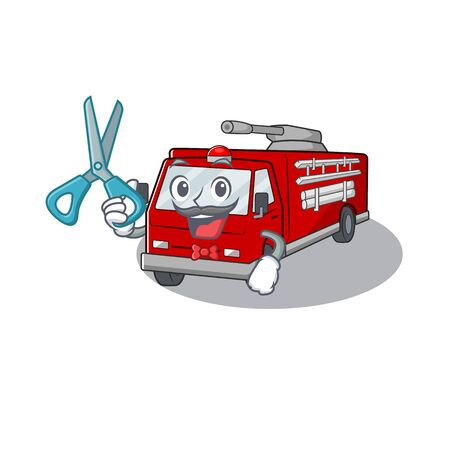 Smiley Funny Barber fire truck cartoon character design style