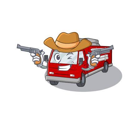 Fire truck dressed as a Cowboy having guns Illustration