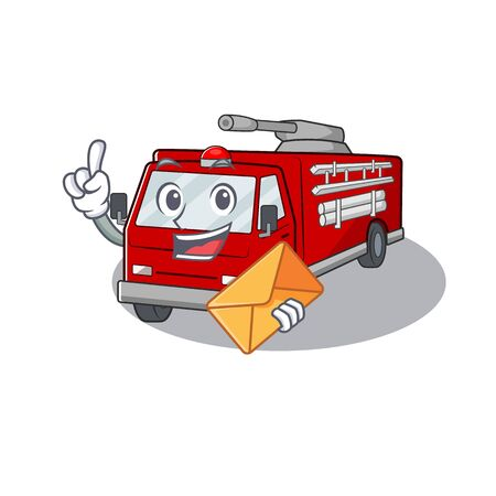 Cheerfully fire truck mascot design with envelope Illustration