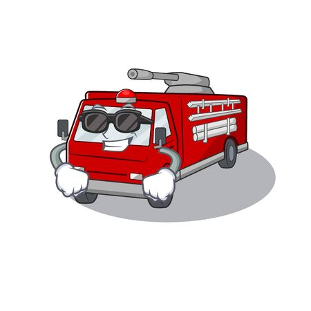 Super cool fire truck character wearing black glasses. Vector illustration