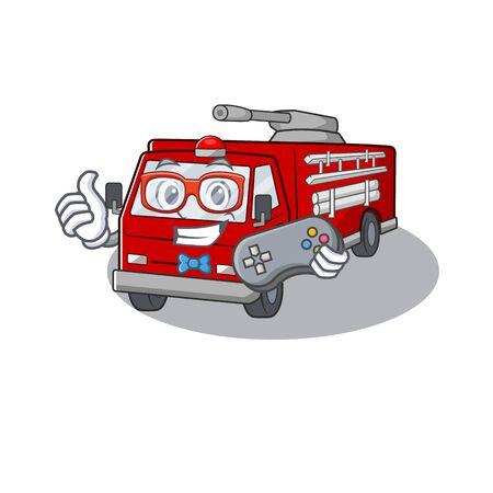Smiley gamer fire truck cartoon mascot style. Vector illustration