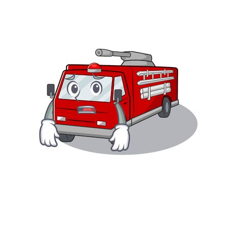 A picture of fire truck showing afraid look face. Vector illustration Vectores