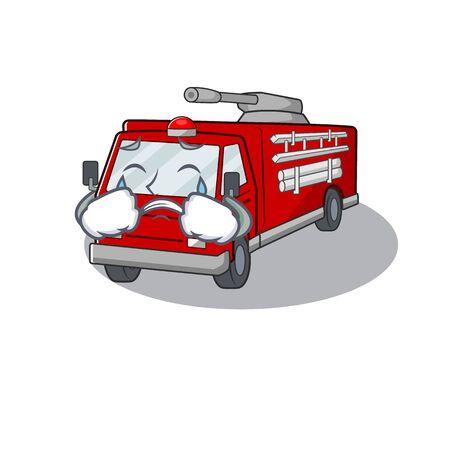 Sad of fire truck cartoon mascot style. Vector illustration