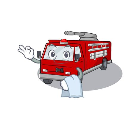 Friendly fire truck Character stand as a Waiter character. Vector illustration