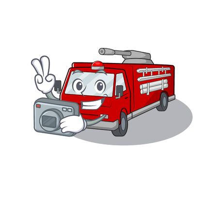 Cool Photographer fire truck character with a camera Vectores