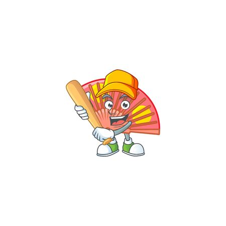 Sporty smiling red chinese folding fan cartoon mascot with baseball. Vector illustration