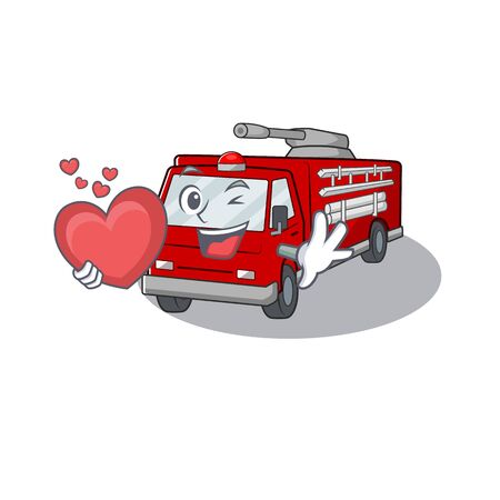 Funny Face fire truck cartoon character holding a heart