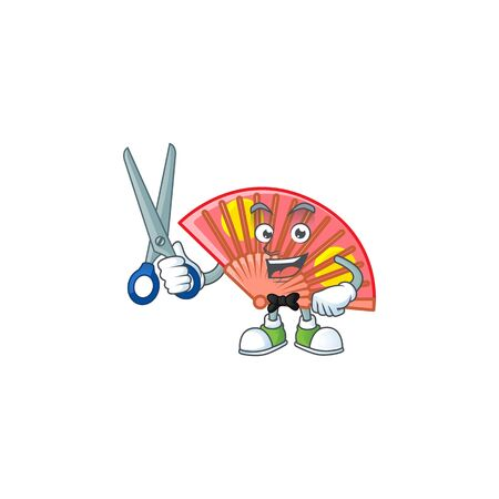 Cool friendly barber red chinese folding fan cartoon character style.