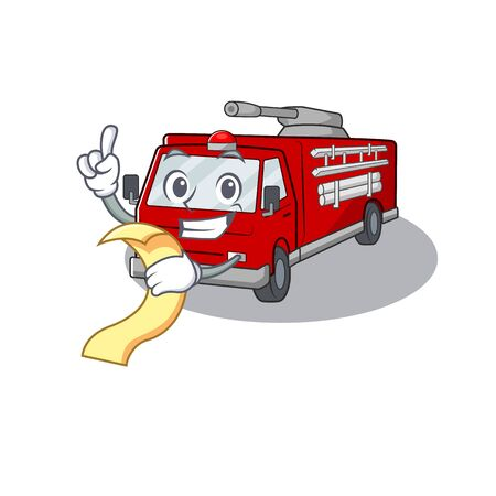 A funny cartoon character of fire truck with a menu. Vector illustration