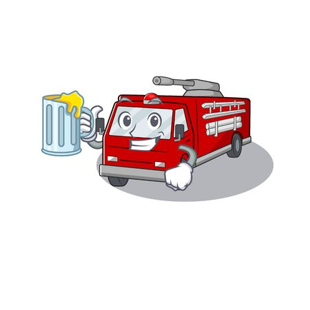 Happy fire truck mascot design with a big glass. Vector illustration