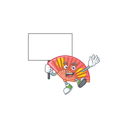 An icon of red chinese folding fan cartoon character style bring board.
