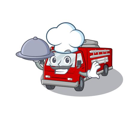 Cartoon design of fire truck as a Chef having food on tray. Vectores