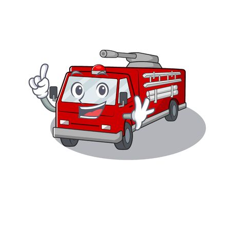 One Finger fire truck in mascot cartoon character style. Vector illustration Çizim
