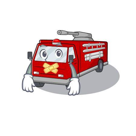 A silent gesture of fire truck mascot cartoon character design.