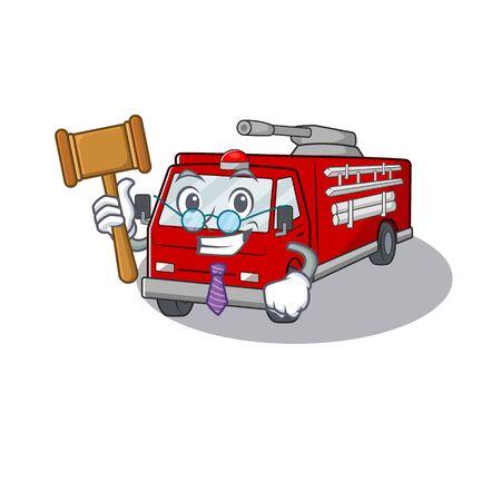 Smart Judge fire truck in mascot cartoon character style.