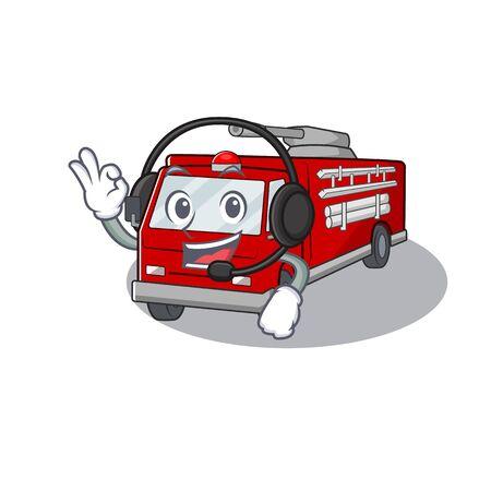 Smiley fire truck cartoon character design wearing headphone. Vector illustration Çizim