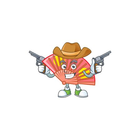 Confident red chinese folding fan Cowboy cartoon character holding guns. Vettoriali