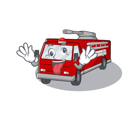 fire truck Cartoon character style with a crazy face