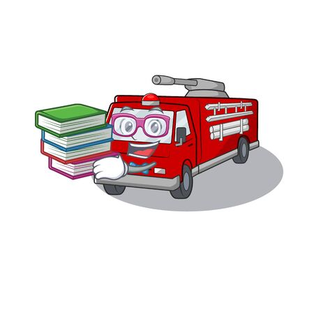 Cool and clever Student fire truck mascot cartoon with book