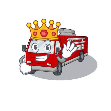 A stunning of fire truck stylized of King on cartoon mascot style