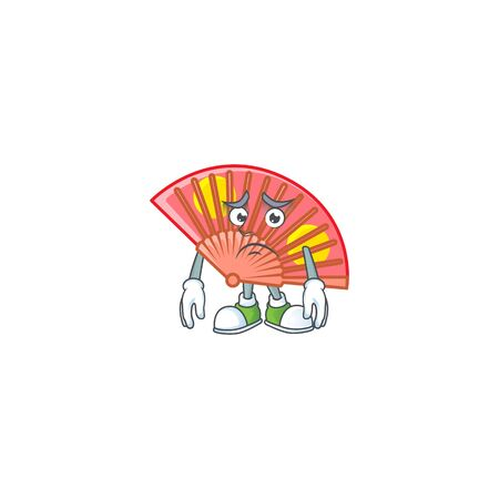 A picture of red chinese folding fan showing afraid look face