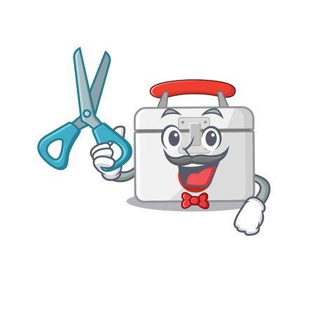Smiley Funny Barber first aid kit cartoon character design style